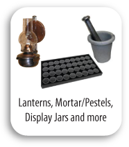 Lanterns, Mortars, Pestels, Display Jars and Cases