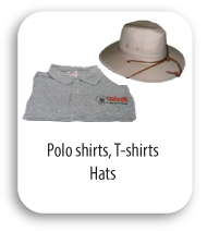 Polo shirts, T-shirts, Hats